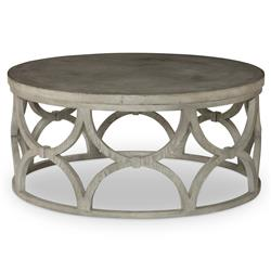 Mara Modern Slate Oak Round Outdoor Coffee Table | Kathy Kuo Home