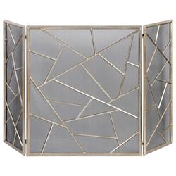 Marco Global Bazaar Silver Leaf Iron Fireplace Screen | Kathy Kuo Home
