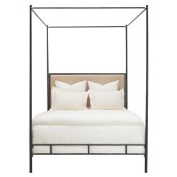 Marco Hammered Bronze Leather Oly Canopy Bed - Queen | Kathy Kuo Home