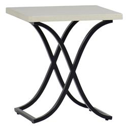 Marco Ivory Travertine Black Outdoor End Table | Kathy Kuo Home