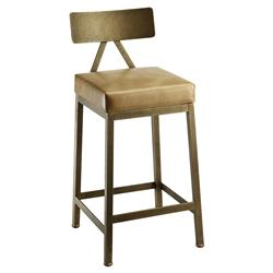Marco Modern Leather Upholstered Copper Bar Stool - 26 inches | Kathy Kuo Home