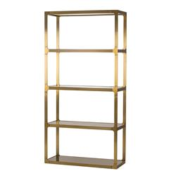 Marcus Hollywood Regency Bronze Glass Shelved Display Bookcase Etagere | Kathy Kuo Home
