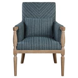 Marguerite Coastal Blue Stripe Weathered Wood Armchair | Kathy Kuo Home