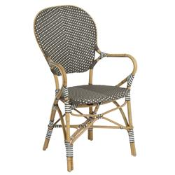 Mariam French Country Rattan Brown Outdoor Dining Arm Chair  | Kathy Kuo Home