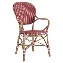 Mariam French Country Rattan Red Outdoor Dining Arm Chair  | Kathy Kuo Home