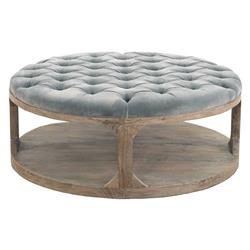 Marie French Country Round Grey-Blue Tufted Wood Coffee Table | Kathy Kuo Home