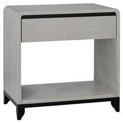 Mariel Modern Classic Grey Black Lacquered Linen 1 Drawer Open Back Nightstand  | Kathy Kuo Home