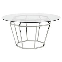 Marilyn Modern Glass Silver Diamond Base Dining Table - 59D | Kathy Kuo Home