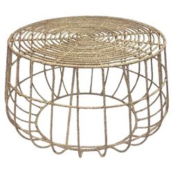 Marina Coastal Beach Jute Round Outdoor Coffee Table | Kathy Kuo Home