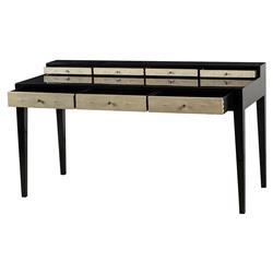 Mario Hollywood Regency Faux Shagreen 7 Drawer Writing Desk | Kathy Kuo Home