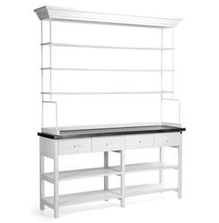 Marion Classic White Industrial Metal Large Display Shelf Bakers Rack | Kathy Kuo Home