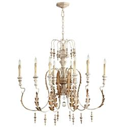 Marion French Country White Washed 8 Light Chandelier | Kathy Kuo Home