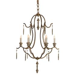 Marisol French Country Simple Dark Gold Iron 6 Light Chandelier | Kathy Kuo Home