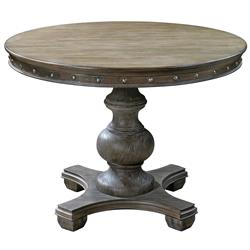 Marius French Country Round Wood Silver Stud Dining Table | Kathy Kuo Home