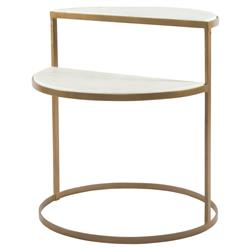 Marlowe Modern Regency White Marble Brass 2 Tier Circular Nightstand | Kathy Kuo Home