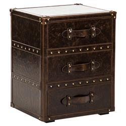 Marylebone Rustic Dark Brown Faux Leather Drawer Nightstand | Kathy Kuo Home