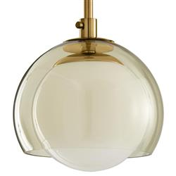Mateo Mid Century Modern Classic Clear Opal Glass Gold Antique Brass Globe Pendant | Kathy Kuo Home