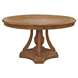 maxime french country pine reclaimed elm round pedestal dining table kathy kuo home