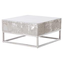 Maximus Concrete Chrome Distressed Square Block Coffee Table | Kathy Kuo Home