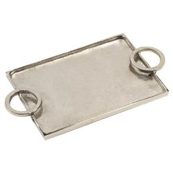 Mayhill Modern Classic Horizontal Ring Handled Aluminum Serving Tray - Small | Kathy Kuo Home