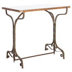 Mayme Rustic French Country Marble Iron Side Table | Kathy Kuo Home
