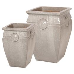 Medallion French Country Grey Ceramic Pots - Set of 2  | Kathy Kuo Home