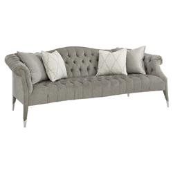 Melina Modern Classic Grey Chenille Upholstered Tufted Camelback Sofa | Kathy Kuo Home