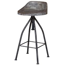 Melvin Industrial Loft Grey Iron Driftwood Bar Stool | Kathy Kuo Home