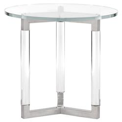 Mercer Acrylic Post Silver Steel Round Glass End Table | Kathy Kuo Home