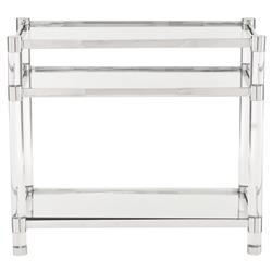 Mercer Acrylic Post Stainless Steel Glass Side Table | Kathy Kuo Home