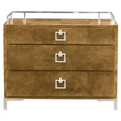 Mercer Caramel Ash Modern Polished Steel Chest | Kathy Kuo Home