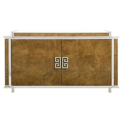 Mercer Caramel Ash Modern Steel Greek Key Buffet | Kathy Kuo Home