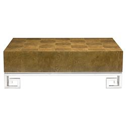 Mercer Caramel Ash Modern Steel Greek Key Coffee Table | Kathy Kuo Home