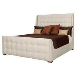 Mercer Classic Beige Tufted Modern Sleigh Bed - Queen | Kathy Kuo Home