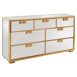 Mercer Mirrored Polished Gold Greek Key Dresser | Kathy Kuo Home