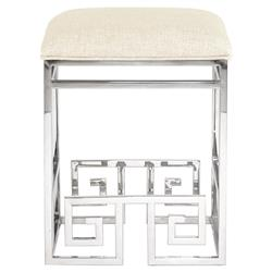 Mercer Stainless Steel Ivory Greek Key Counter Stool | Kathy Kuo Home