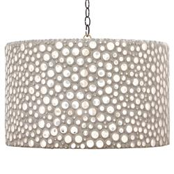Meri Frost White Oly Drum Chandelier | Kathy Kuo Home