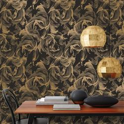 Metallic Gold and Matte Black Paint Strokes Removable Wallpaper | Kathy Kuo Home