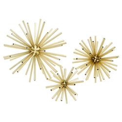 Meteor Modern Classic Polished Brass Starburst Sculptures - Set of 3 | Kathy Kuo Home