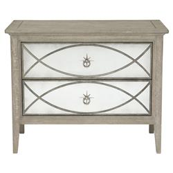 Michaela French Country White Oak Decorative Metal Overlay Nightstand | Kathy Kuo Home
