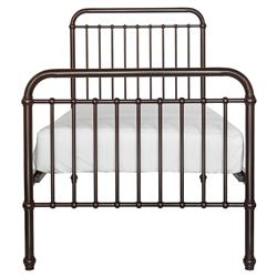 Mickie Modern Classic Polished Brown Metal Bed - Twin | Kathy Kuo Home