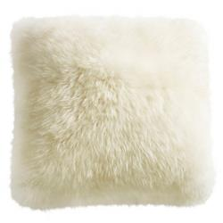 Mildred Modern Ivory Long Wool Fur Floor Pillow - 32x32 | Kathy Kuo Home