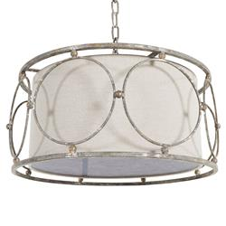 Milly French Country Infinity Antique Silver Iron Pendant Light | Kathy Kuo Home