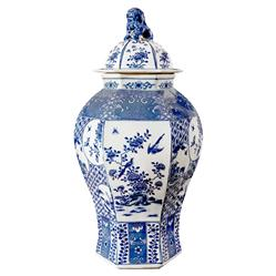 Ming Global Bazaar Blue Floral Hexagon Base Porcelain Temple Jar | Kathy Kuo Home