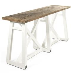 Mirabel Coastal Beach Rustic White Reclaimed Wood X Base Sofa Console Table | Kathy Kuo Home