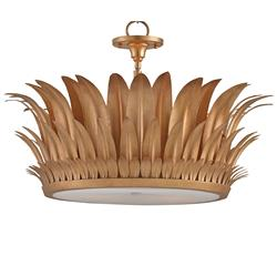 Miramar Hollywood Regency Gold Tier Leaf Semi Flush Pendant | Kathy Kuo Home