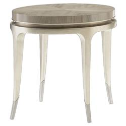 Miranda Modern Classic Soft Silver Lead Round Side End Table | Kathy Kuo Home
