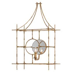 Mirko Global Industrial Textured Gold Iron Mirror Cage Wall Sconce  | Kathy Kuo Home