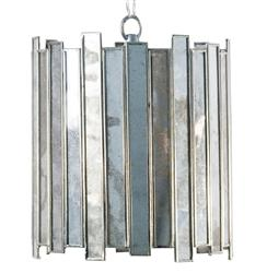 "Mirren Hollywood Regency Silver Mirror Pendant - 7""D 