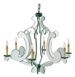 Mirrored Modern Baroque Hollywood 6 Light Chandelier